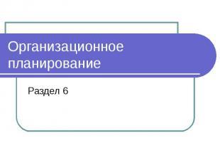 Организационное планирование Раздел 6