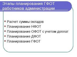 Этапы планирования ГФОТ работников администрации Расчет суммы окладов Планирован