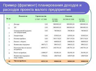 Пример (фрагмент) планирования доходов и расходов проекта малого предприятия