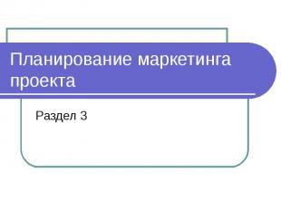Планирование маркетинга проекта Раздел 3