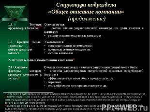 Структура подраздела «Общее описание компании» (продолжение)