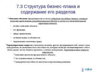 7.3 Структура бизнес-плана и содержание его разделов Описание объекта (продукции