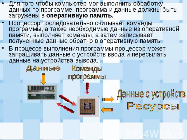 Для того чтобы компьютер мог выполнить обработку данных по программе, программа и данные должны быть загружены в оперативную память. Для того чтобы компьютер мог выполнить обработку данных по программе, программа и данные должны быть загружены в опе…