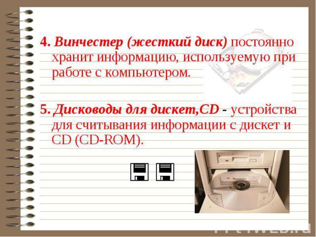 4. Винчестер (жесткий диск) постоянно хранит информацию, используемую при работе с компьютером. 5. Дисководы для дискет,CD - устройства для считывания информации с дискет и CD (CD-ROM).