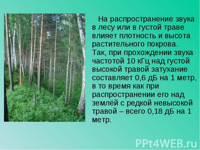 На распространение звука в лесу или в густой траве влияет плотность и высота растительного покрова. Так, при прохождении звука частотой 10 кГц над густой высокой травой затухание составляет 0,6 дБ на 1 метр, в то время как при распространении его на…