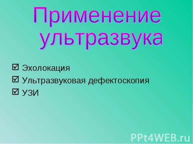 Эхолокация Эхолокация Ультразвуковая дефектоскопия УЗИ