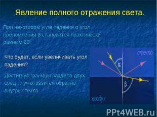 Явление полного отражения света. При некотором угле падения α угол преломления β
