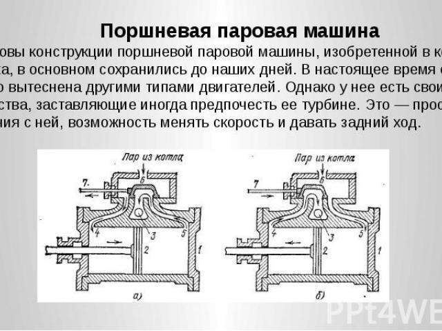 Поршневая паровая машина Поршневая паровая машина Основы конструкции поршневой паровой машины, изобретенной в конце XVIII века, в основном сохранились до наших дней. В настоящее время она частично вытеснена другими типами двигателей. Однако у нее ес…
