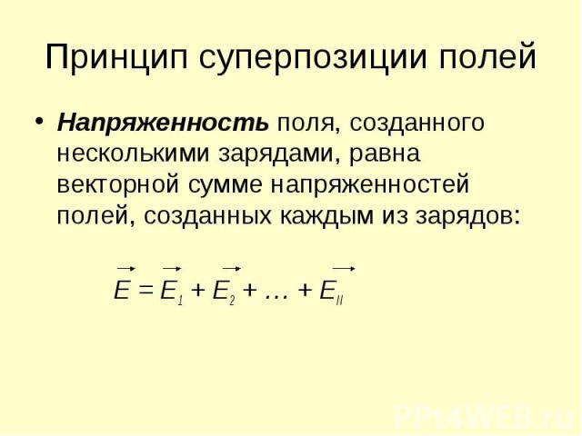 Принцип суперпозиции полей Напряженность поля, созданного несколькими зарядами, равна векторной сумме напряженностей полей, созданных каждым из зарядов: Е = Е1 + Е2 + … + ЕN
