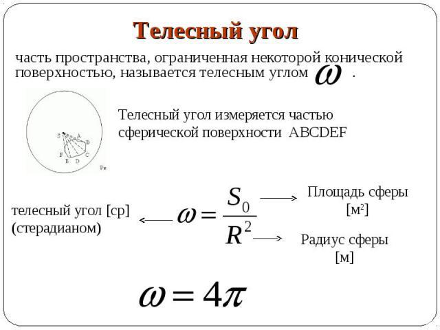 часть пространства, ограниченная некоторой конической поверхностью, называется телесным углом . часть пространства, ограниченная некоторой конической поверхностью, называется телесным углом .