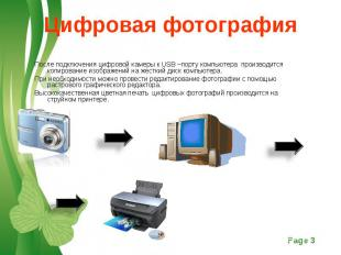 После подключения цифровой камеры к USB –порту компьютера производится копирован