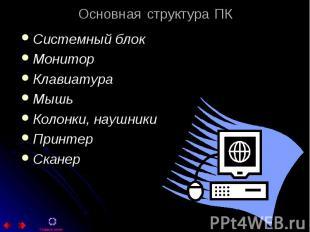 Системный блок Системный блок Монитор Клавиатура Мышь Колонки, наушники Принтер