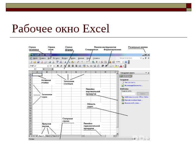 Рабочее окно Excel