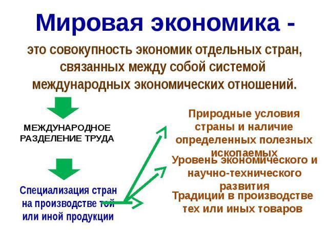 Мировая экономика - это совокупность экономик отдельных стран, связанных между собой системой международных экономических отношений.