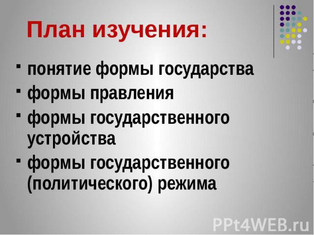 понятие формы государства понятие формы государства формы правления формы государственного устройства формы государственного (политического) режима
