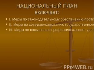 I. Меры по законодательному обеспечению противодействия коррупции I. Меры по зак