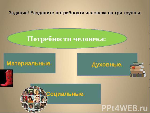 Задание! Разделите потребности человека на три группы.