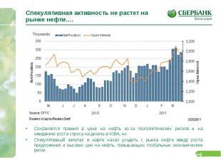 Спекулятивная активность не растет на рынке нефти…. Сохраняется премия в цене на