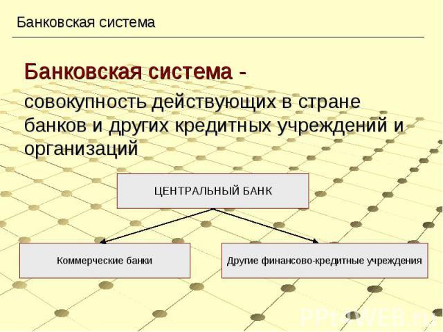 Банковская система - Банковская система - совокупность действующих в стране банков и других кредитных учреждений и организаций