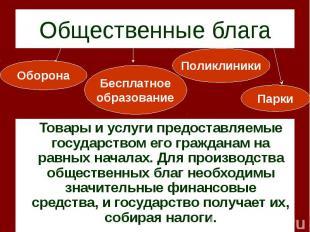 Товары и услуги предоставляемые государством его гражданам на равных началах. Дл