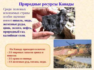Среди полезных ископаемых страны особое значение имеют никель, медь, железные ру