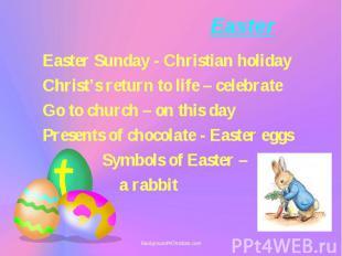 Easter Easter Sunday - Christian holiday Christ's return to life – celebrate Go
