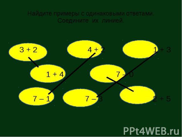 Найдите примеры с одинаковыми ответами. Соедините их линией. 3 + 2 4 + 2 1 + 3 1 + 4 7 – 0 7 – 1 7 – 3 2 + 5