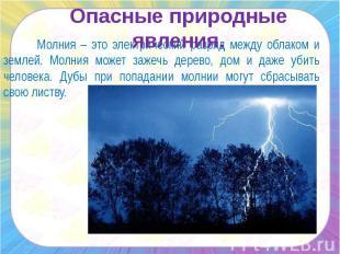 Опасные природные явления. Молния – это электрический разряд между облаком и зем