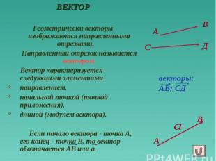 А ВЕКТОР Геометрически векторы изображаются направленными отрезками. Направленны