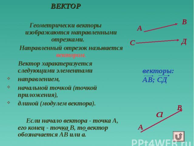 А ВЕКТОР Геометрически векторы изображаются направленными отрезками. Направленный отрезок называется вектором. Вектор характеризуется следующими элементами направлением, начальной точкой (точкой приложения), длиной (модулем вектора). Если начало век…