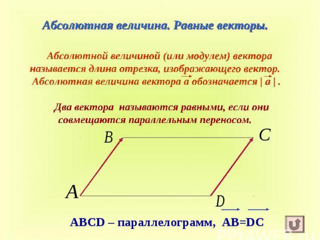 Абсолютная величина. Равные векторы. Абсолютной величиной (или модулем) вектора называется длина отрезка, изображающего вектор. Абсолютная величина вектора а обозначается   а   . Два вектора называются равными, если они совмещаются параллельным переносом.