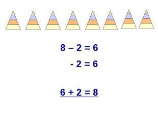 8 – 2 = 6 8 – 2 = 6 - 2 = 6 6 + 2 = 8