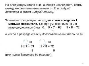 Замечают следующее: число десятков всегда на 1 меньше множителя, т.е. при умноже