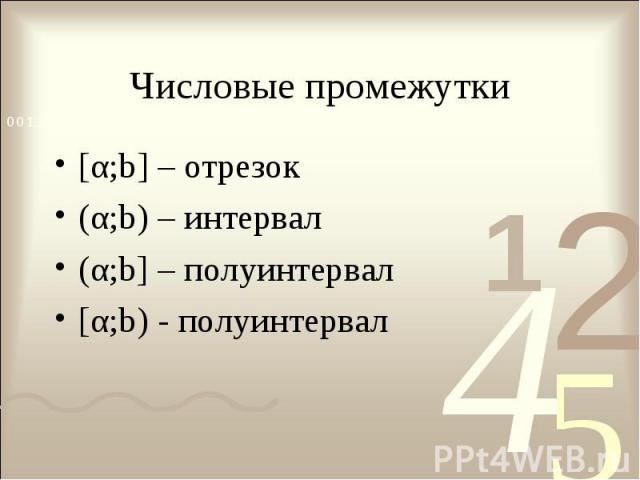 [α;b] – отрезок [α;b] – отрезок (α;b) – интервал (α;b] – полуинтервал [α;b) - полуинтервал