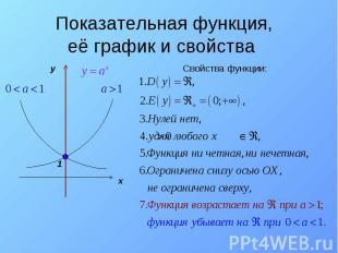 Показательная функция, её график и свойства