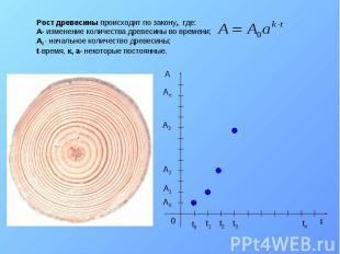 Рост древесины происходит по закону, где: A- изменение количества древесины во в