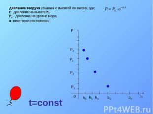Давление воздуха убывает с высотой по закону, где: P- давление на высоте h, P0 -
