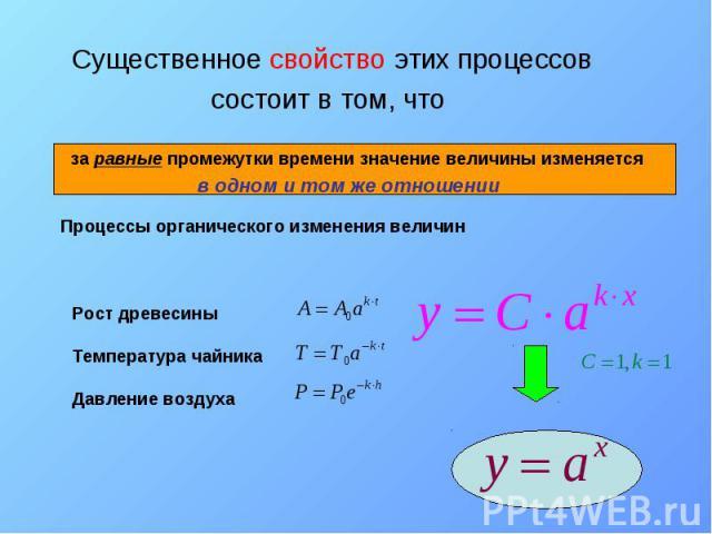 Существенное свойство этих процессов Существенное свойство этих процессов состоит в том, что