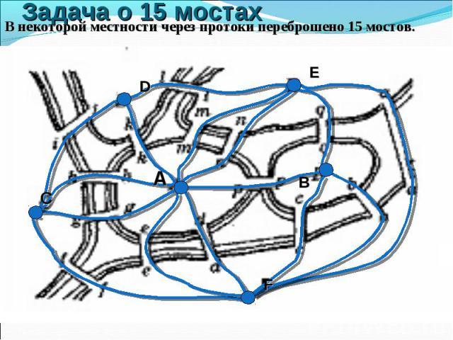 В некоторой местности через протоки переброшено 15 мостов. В некоторой местности через протоки переброшено 15 мостов.