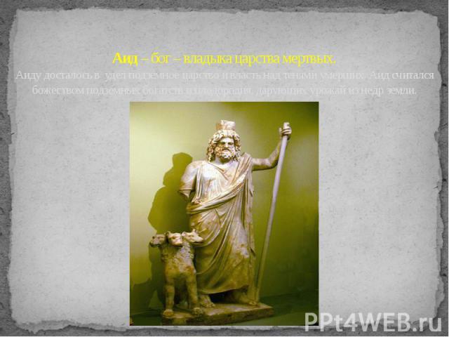 Аид – бог – владыка царства мертвых. Аиду досталось в удел подземное царство и власть над тенями умерших. Аид считался божеством подземных богатств и плодородия, дарующих урожай из недр земли.