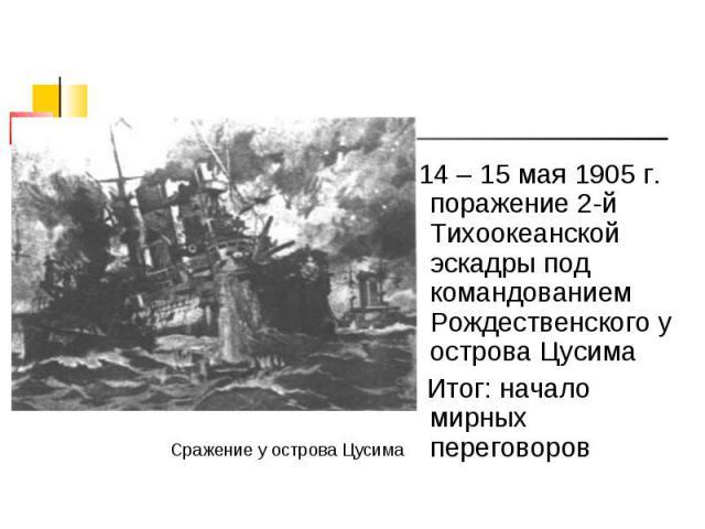 14 – 15 мая 1905 г. поражение 2-й Тихоокеанской эскадры под командованием Рождественского у острова Цусима 14 – 15 мая 1905 г. поражение 2-й Тихоокеанской эскадры под командованием Рождественского у острова Цусима Итог: начало мирных переговоров