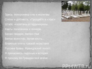Здесь похоронены сны и молитвы Слёзы и доблесть. «Прощай!» и «Ура!» Штабс –капит