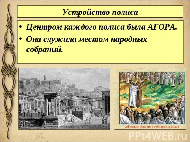 Устройство полиса Центром каждого полиса была АГОРА. Она служила местом народных собраний.