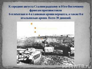 К середине августа Сталинградскому и Юго-Восточному фронтам противостояли 6-я пе