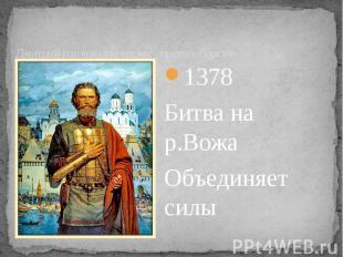 Дмитрий готов к открытому противоборству 1378 Битва на р.Вожа Объединяет силы