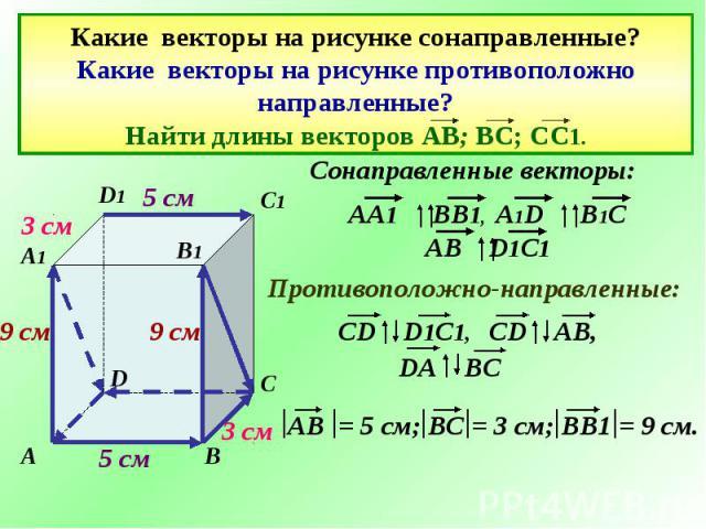 Какие векторы на рисунке сонаправленные? Какие векторы на рисунке противоположно направленные? Найти длины векторов АВ; ВС; СС1.
