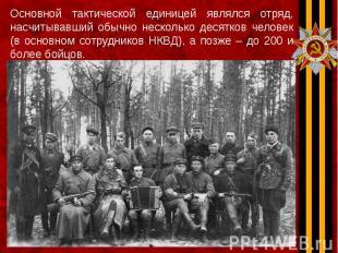 Основной тактической единицей являлся отряд, насчитывавший обычно несколько деся