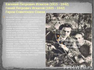 Евгений Петрович Игнатов (1915 - 1942) Гений Петрович Игнатов (1925 - 1942) Геро