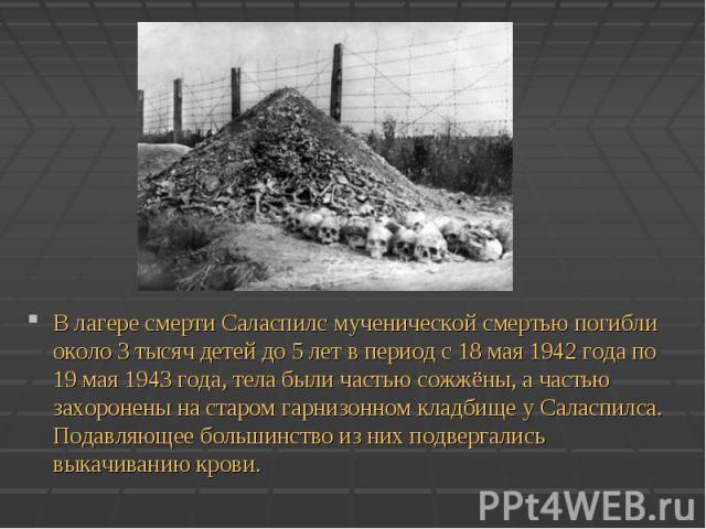 В лагере смерти Саласпилс мученической смертью погибли около 3 тысяч детей до 5 лет в период с 18 мая 1942 года по 19 мая 1943 года, тела были частью сожжёны, а частью захоронены на старом гарнизонном кладбище у Саласпилса. Подавляющее большинство и…