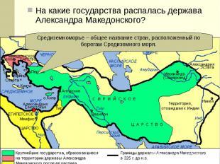 На какие государства распалась держава Александра Македонского? На какие государ